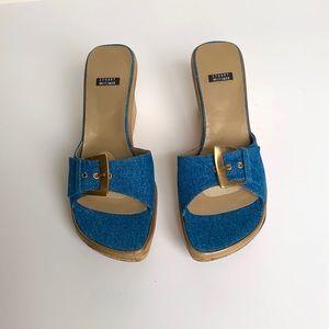 STUART WEITZMAN Denim Cork Platform Sandals